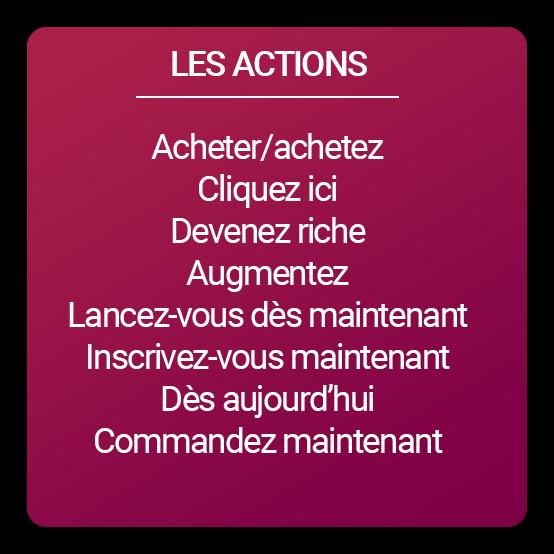 """Liste mots spammant """"les actions"""""""