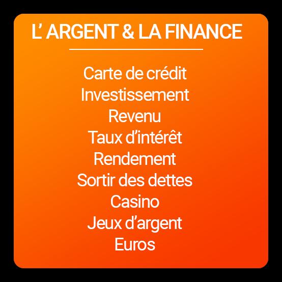 """Liste mots spammant """"argent & finance"""""""