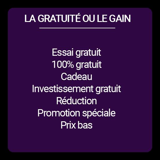 """Liste mots spammant """"gratuité ou gain"""""""