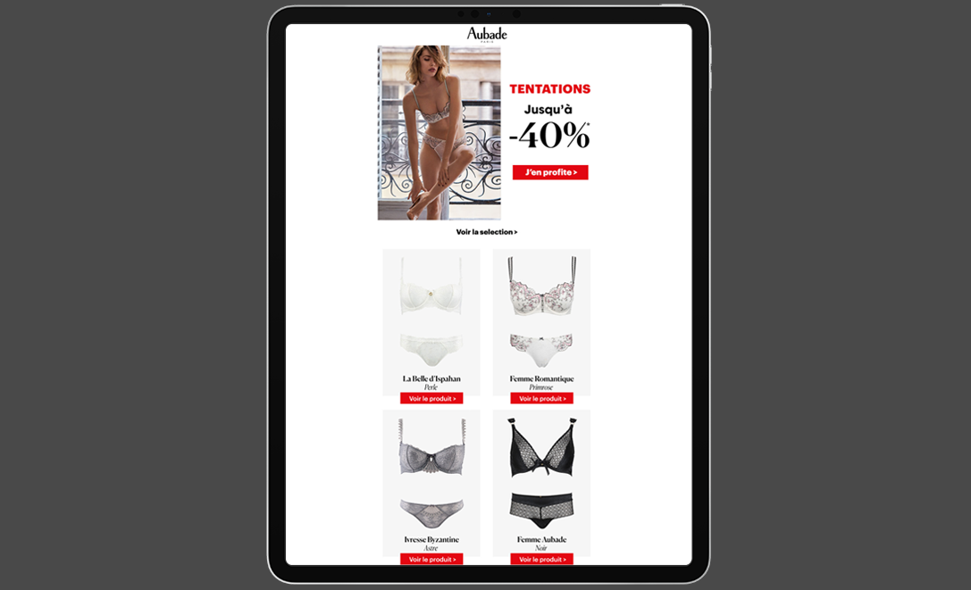 templates email aubade lingerie