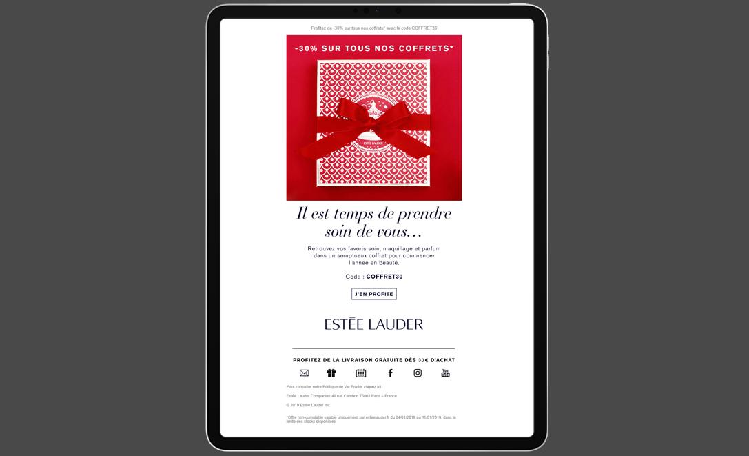 templates email estée lauder coffret cadeau